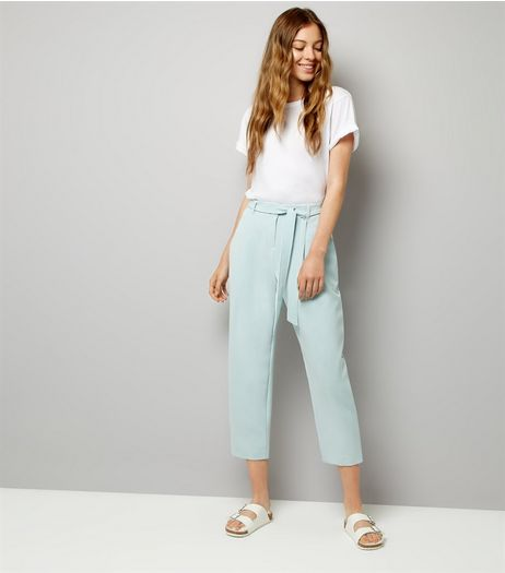 Mint Green Tie Waist Trousers | New Look