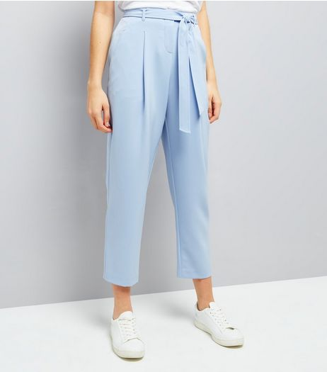 Pale Blue Tie Waist Trousers  | New Look