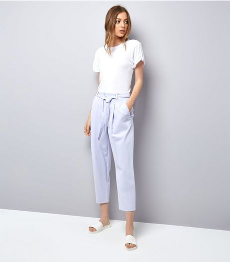Lilac Tie Waist Trousers | New Look