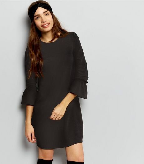 Black Frill Trim Bell Sleeve Lattice Back Swing Dress  | New Look
