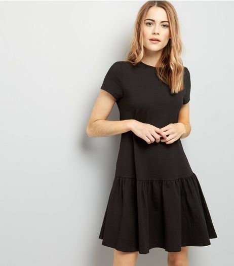 Black Drop Hem Short Sleeve Dress | New Look