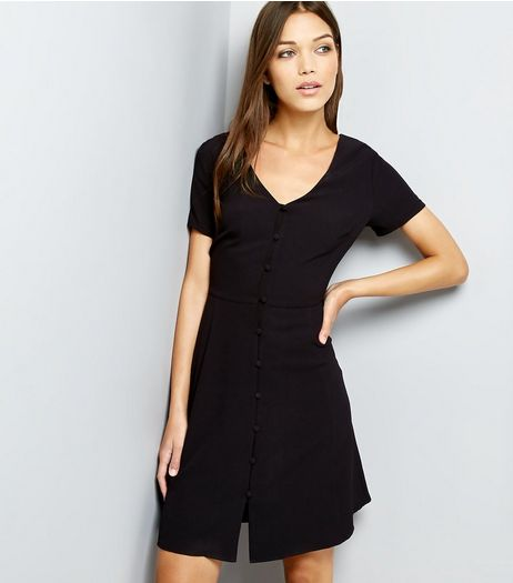 Black V Neck Button Front Shirt Dress | New Look