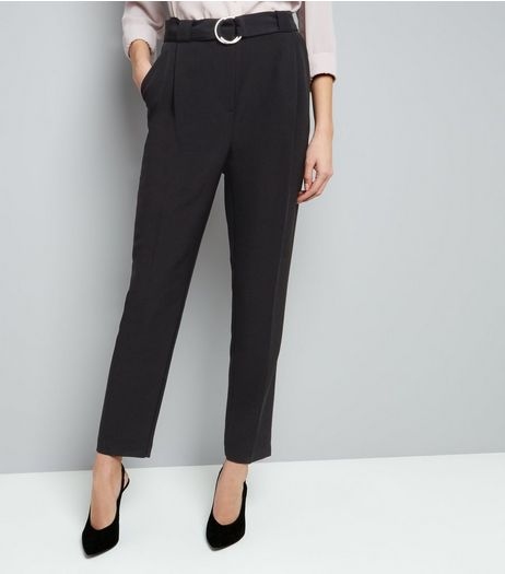 Tall Black Circle Belt Slim Leg Trousers | New Look