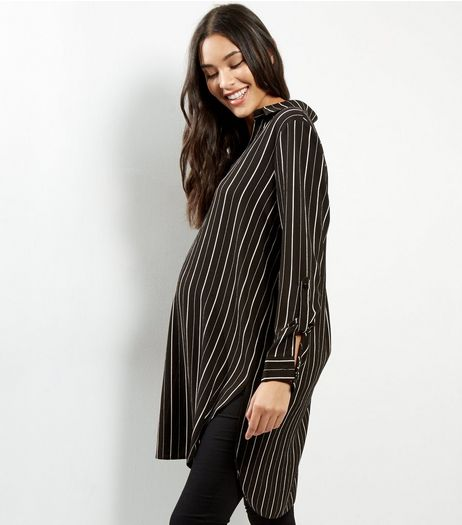 Maternity Black Stripe Print Longline Shirt | New Look