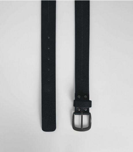 Black Leather Stitch Detail Belt | New Look