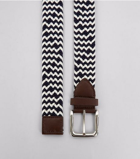 Navy Zig Zag Pattern Elasticated Belt | New Look