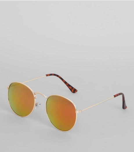 Gold Round Tinted Sunglasses | New Look