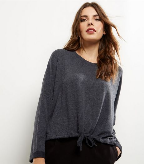 Grey Brushed Drawstring Hem Top | New Look