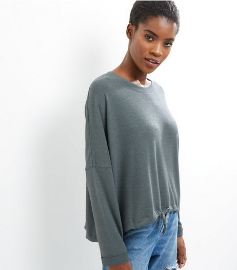 Mint Green Brushed Drawstring Hem Top | New Look
