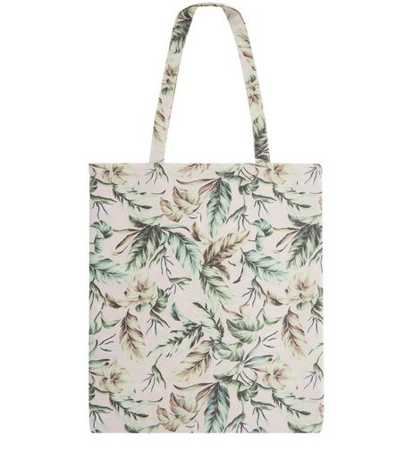 Pink Leaf Print Canvas Tote Bag | New Look