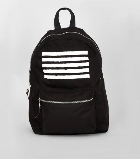 Black 5 Line Backpack | New Look