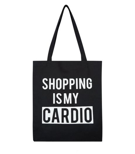 Black Shopping Is My Cardio Canvas Bag | New Look