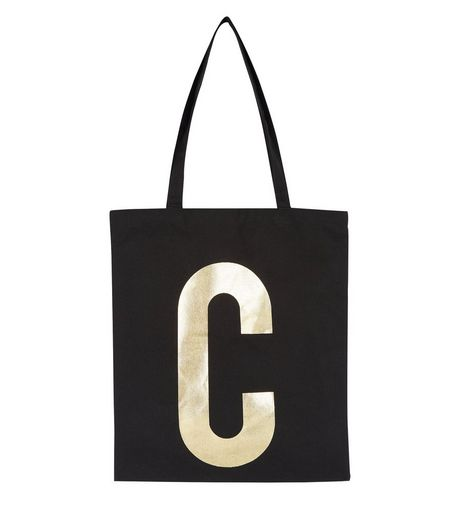 Black C Initial Canvas Bag  | New Look