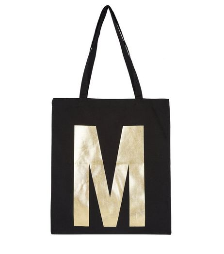 Black Metallic M Initial Canvas Bag | New Look