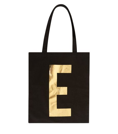 Black Metallic E Initial Canvas Bag | New Look