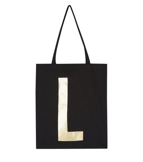 Black Metallic L Initial Canvas Bag | New Look
