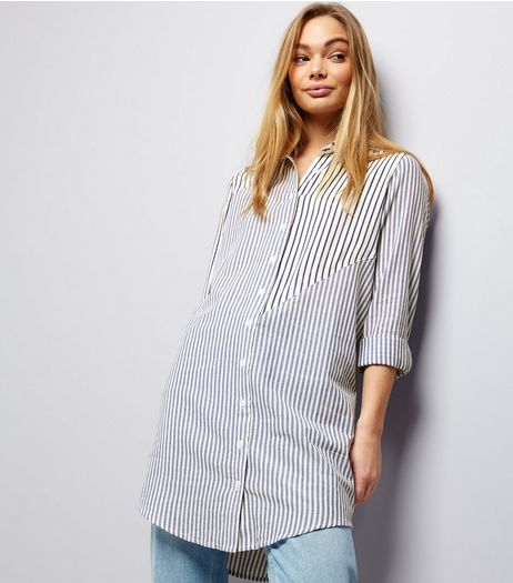 Innocence Blue Stripe Roll Sleeve Longline Shirt  | New Look