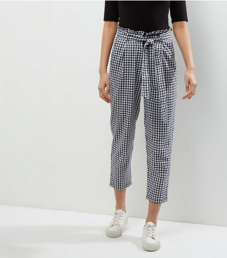 Innocence Black Gingham Check Tie Waist Cropped Trousers  | New Look