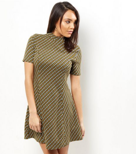 Black Aztec Print Tunic Short Sleeve Dress | New Look