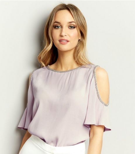 Light Purple Embellished Trim Cold Shoulder Top | New Look