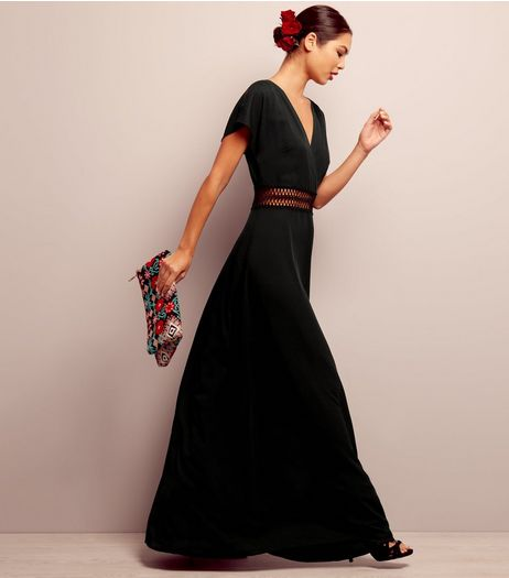 Black Crochet Waist Maxi Bridesmaid Dress | New Look