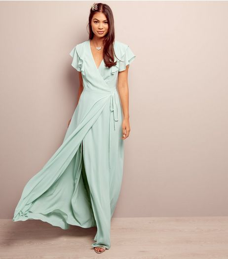 Mint Green V Neck Lattice Back Maxi Bridesmaid Dress | New Look