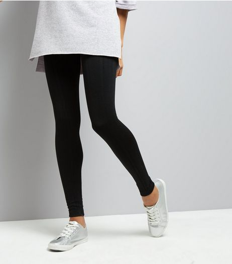Black Cable Knit Fleece Leggings  | New Look