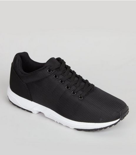 Black Lace Up Running Trainers | New Look