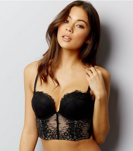 Black Lace Longline Boost Basque | New Look