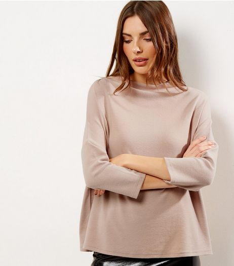 Light Brown Brushed Funnel Neck 3/4 Sleeve T-Shirt  | New Look