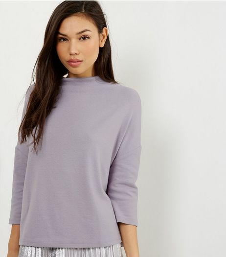 Lilac Brushed Funnel Neck 3/4 Sleeve T-Shirt  | New Look