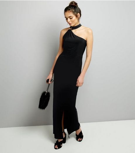 Black Ring Trim Halter Neck Maxi Dress | New Look