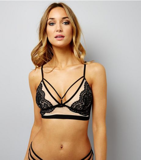 Black Mesh And Lace Longline Multi Strap Bralet | New Look