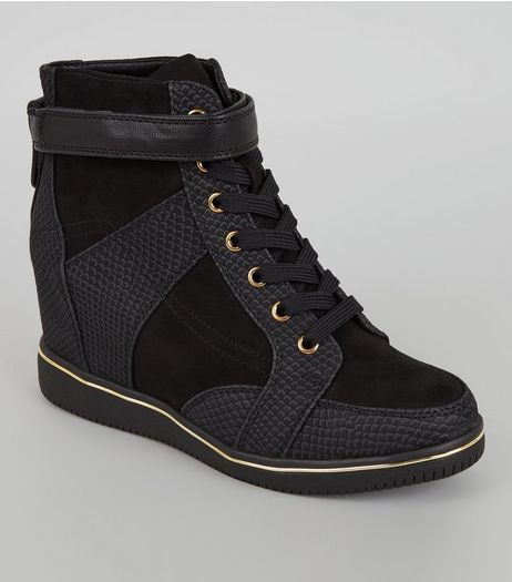 Black Perforated Panel Wedge Trainers | New Look