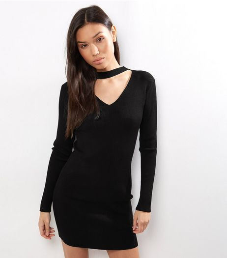 Blue Vanilla Black Ribbed Choker Neck Dress | New Look