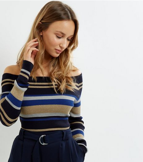 Blue Vanilla Blue Stripe Bardot Neck Jumper  | New Look