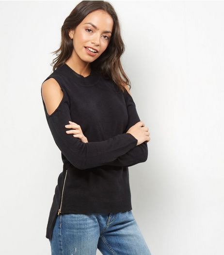 Bule Vanilla Black Zip Trim Cold Shoulder Jumper  | New Look
