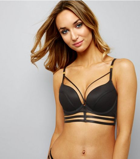Black Fishnet Multi Strap Push Up Bra | New Look