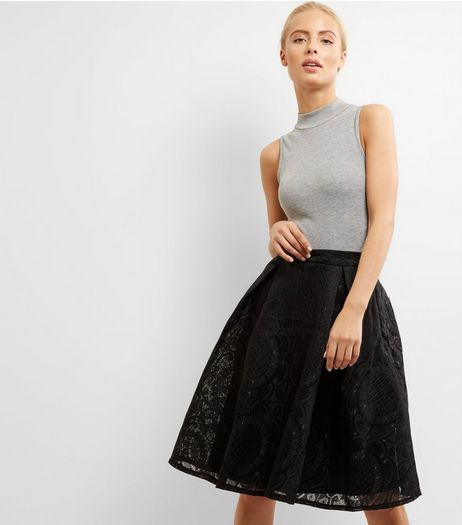 Blue Vanilla Black Lace Pattern Midi Skater Skirt | New Look