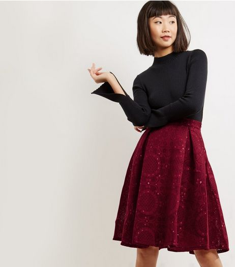 Blue Vanilla Red Lace Pattern Midi Skater Skirt | New Look
