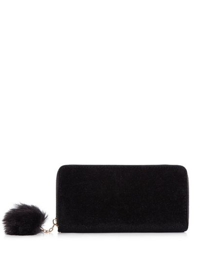 Black Velvet Pom Pom Zip Purse | New Look