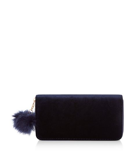 Navy Velvet Pom Pom Zip Around Purse | New Look