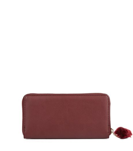 Burgundy Velvet Pom Pom Zip Purse | New Look