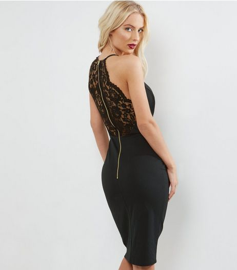 Black Lace Back Bodycon Dress | New Look