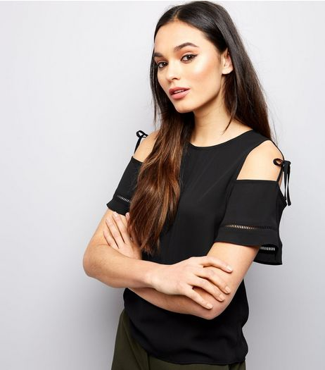 Black Tie Cold Shoulder Top  | New Look