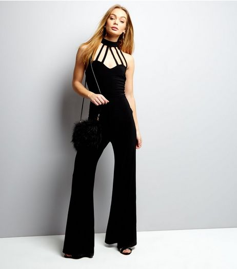 Black Halter Neck Strap Front Jumpsuit  | New Look