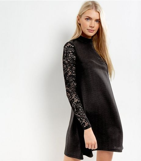 Black Funnel Neck Lace Sleeve Swing Dress | New Look