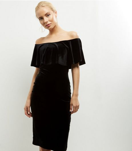 Blue Vanilla Black Velvet Bardot Neck Dress | New Look