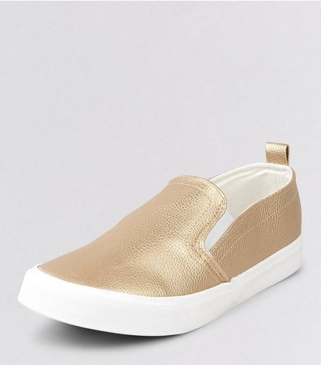 Teens Gold Metallic Slip On Plimsolls | New Look