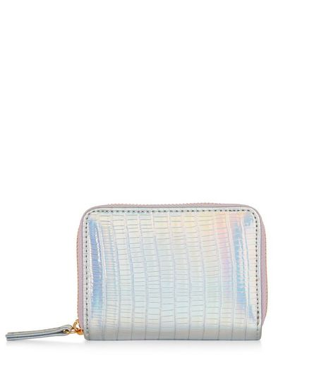 Silver Holographic Croc Texture Cardholder  | New Look